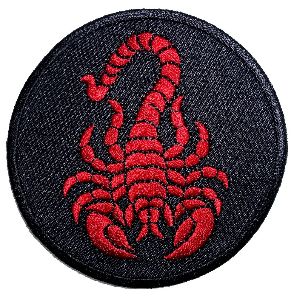 Biker Vest Patches >> Red Scorpion on black round Embroidered Biker Patch ...