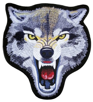 Growling mean wolf biker patch