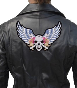 Lady rider wings skull patch