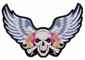 Blue wings red eyed skull lady rider patch