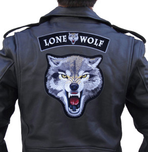 Lone wolf biker patch set