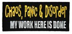 Chaos, panic, disorder biker patch