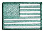 Green American flag patch