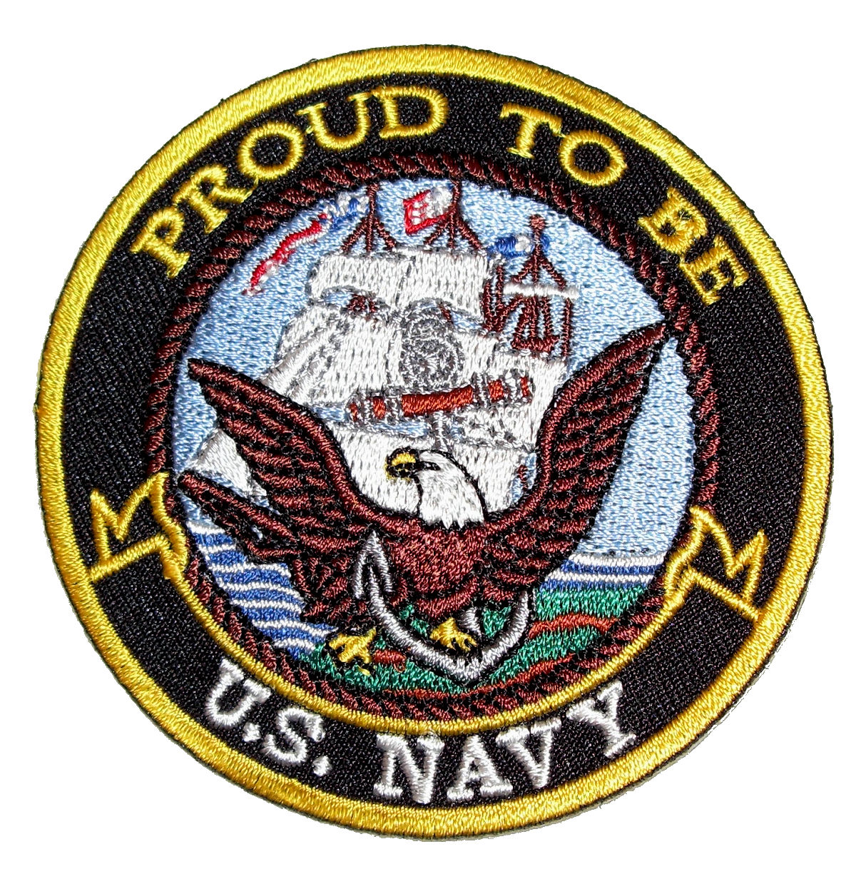 Patriotic proud to be us navy embroidered biker patch