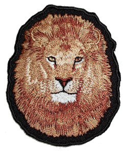 Brown lion head patch