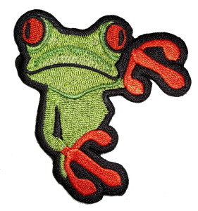 Green and orange tree frog patch