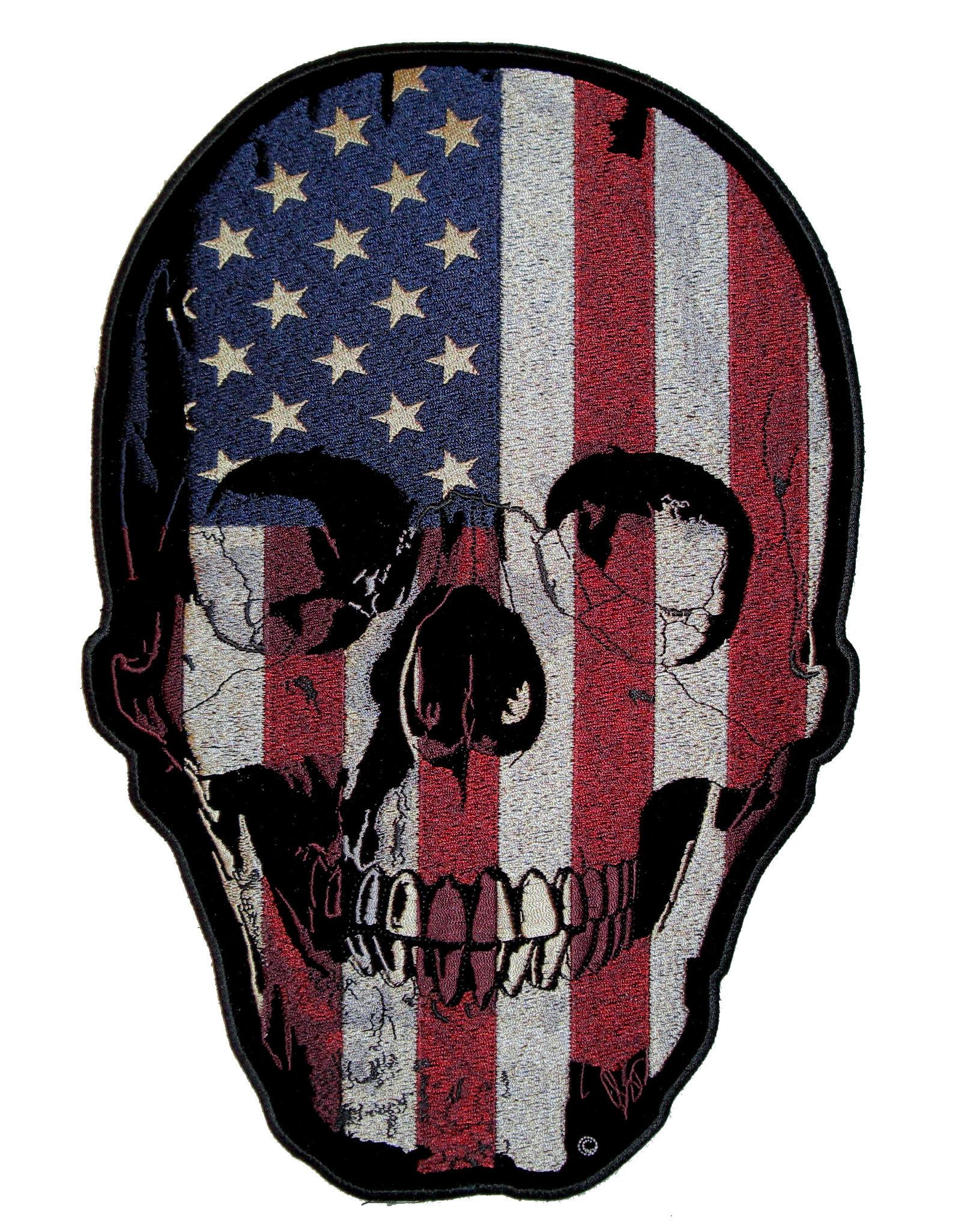 Biker Vest Patches >> Patriotic USA American Flag Skull Biker Patch – Quality Biker Patches