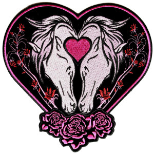 Horses, heart, roses lady patch