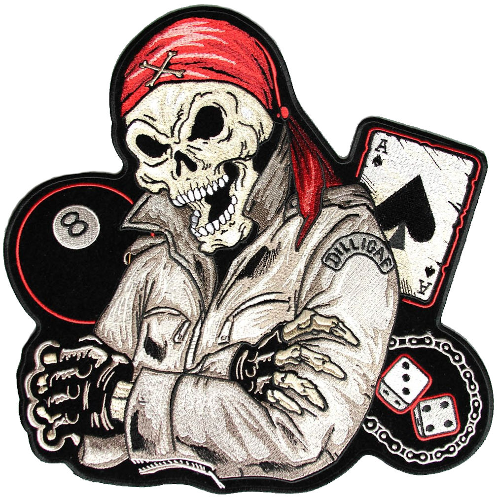 Motorcycle Biker Life Guy Skull Embroidered Biker Patch ...