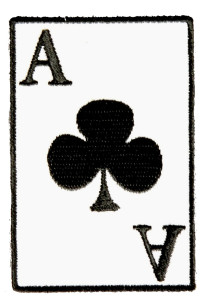 ace of clubs playing cards biker patch