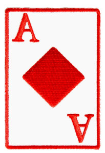 ace of diamonds playing cards biker patch