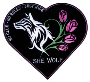 Wolf, roses, heart she wolf patch