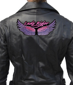 Large lady rider biker patch