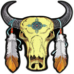 Native Indian buffalo skull patch