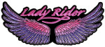 Pink and purple angel wings lady biker patch