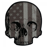 American flag half skull patch