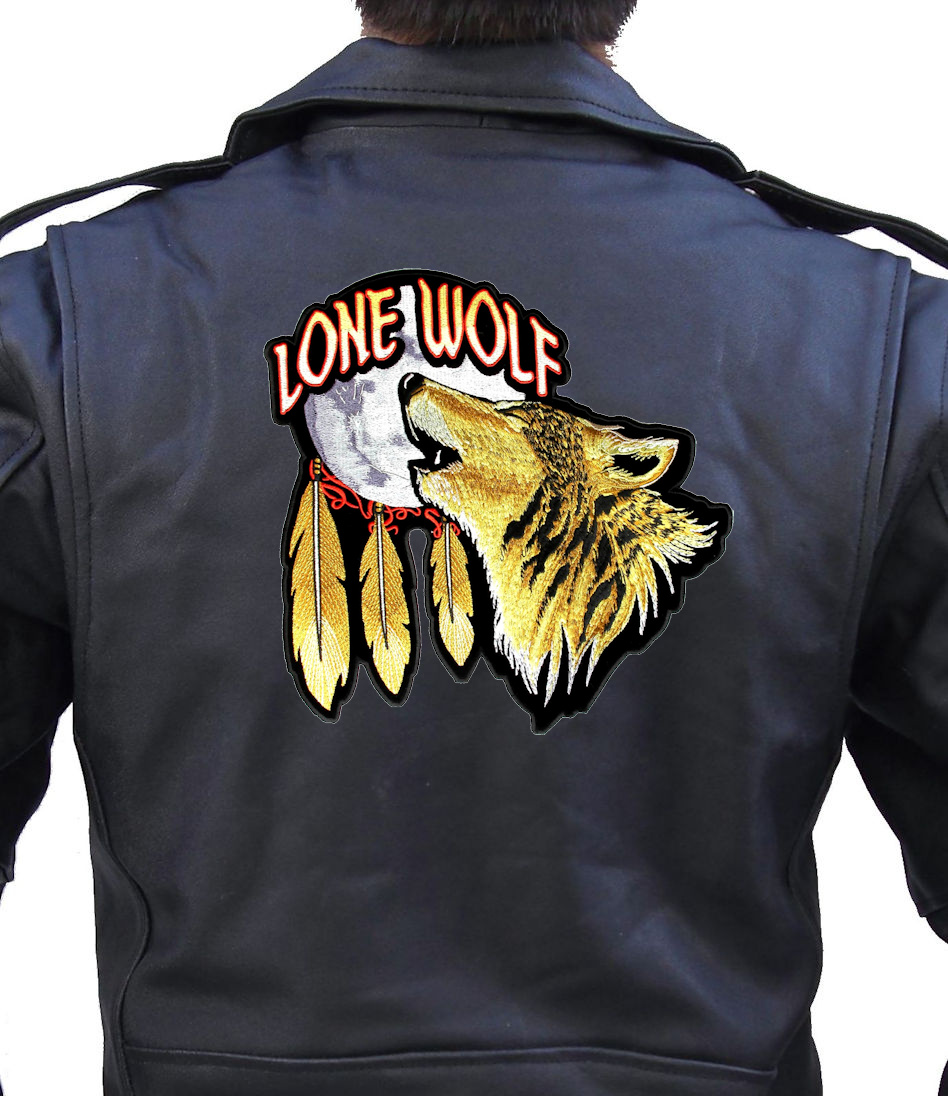 Lone Wolf Howling At Moon Feathers Biker Patch Quality