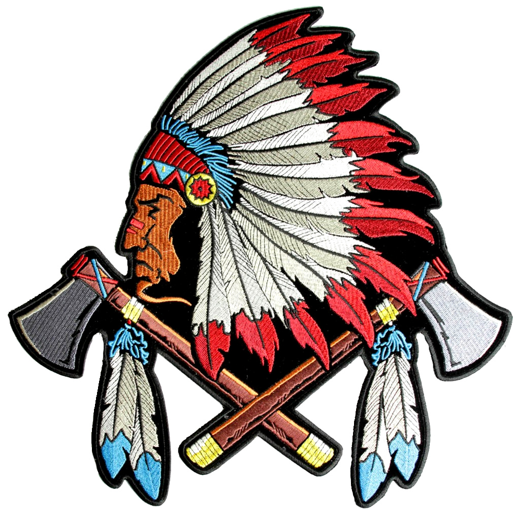 native indian chief head tomahawks  feathers biker patch Standing Indian Chief Clip Art Skull Indian Headdress Clip Art