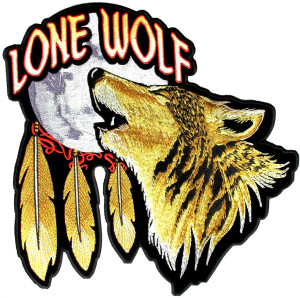 Lone wolf howling at moon patch