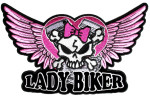 Lady biker wings skull patch