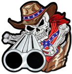 Confederate cowboy skeleton patch