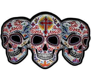 sugar skull lady biker patch
