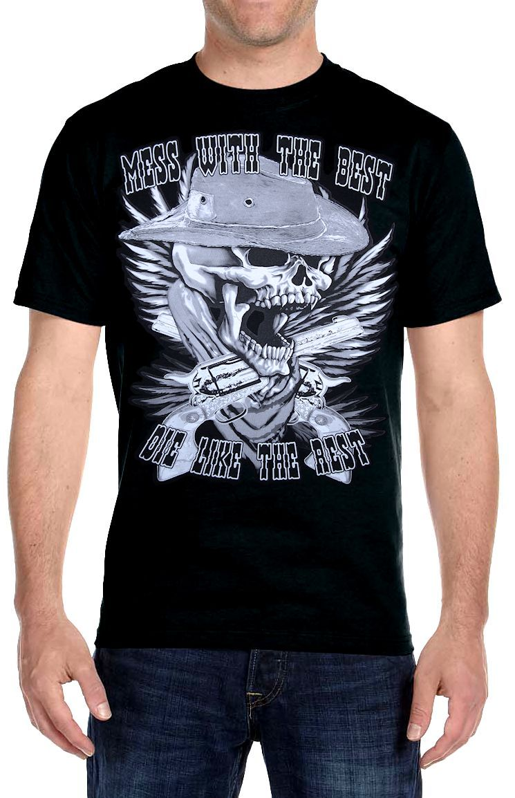 Mens Hanes Beefy T Mess With The Best Biker Tee Shirt
