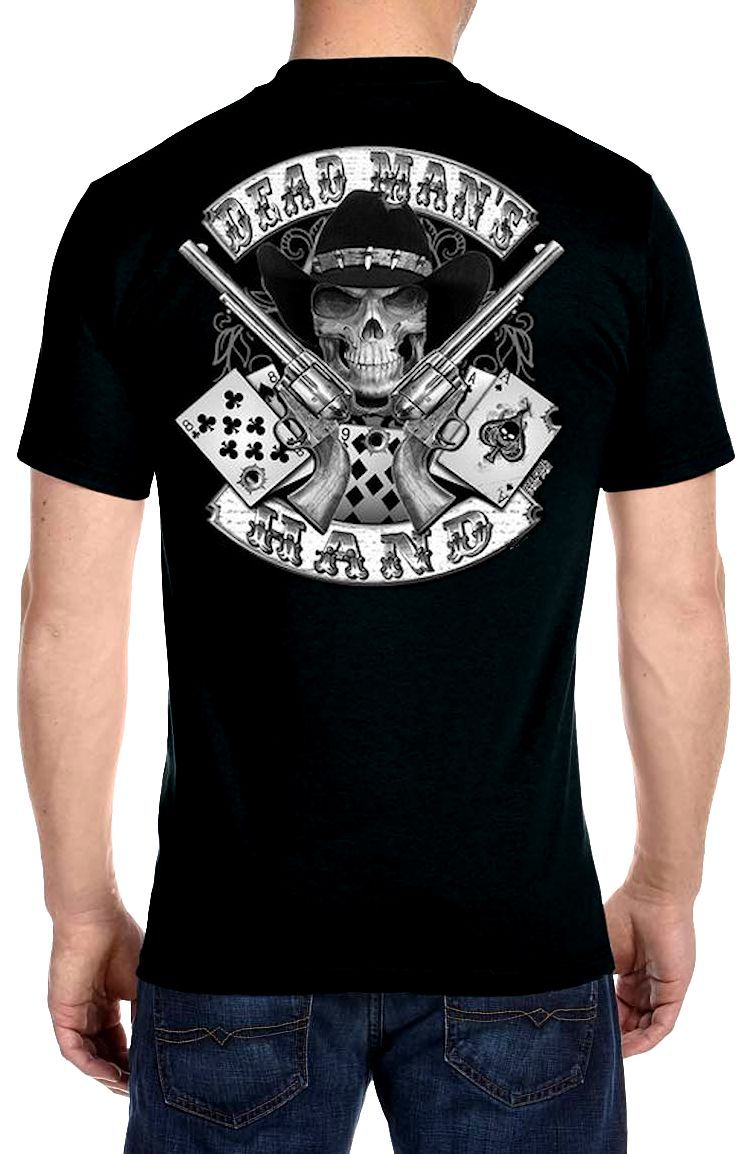 Mens hanes beefy t aces and eights dead mans hand biker for Hanes beefy t custom shirts