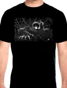 Demon on spiderweb biker shirt