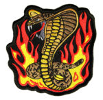Striking cobra snake with flames patch