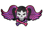 Lady pink skull,wings biker patch