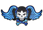 Blue lady skull and wings biker patch
