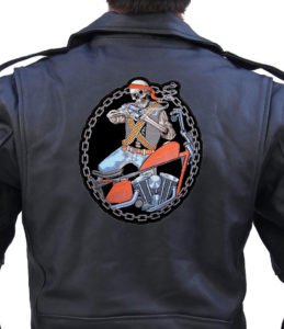 Mean skeleton motorcycle guy patch