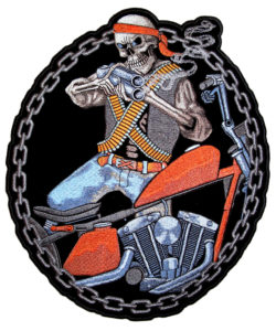 Mercenary skeleton biker patch