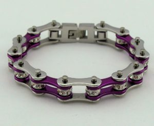 Purple silver ladies bike chain bracelet