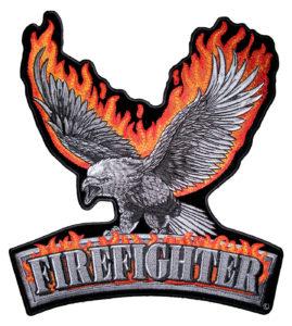 Flaming eagle firefighter biker patch