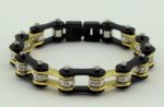 woman's black/gold biker chain bracelet