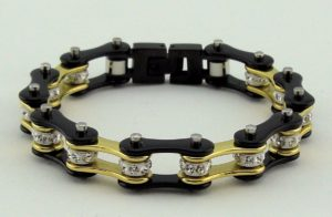 woman's black/gold biker chain bracelet