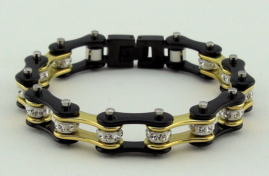 Ladies BlackGold White Crystal Center Stainless Steel Biker Chain