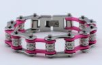 woman's silver/pink biker chain bracelet