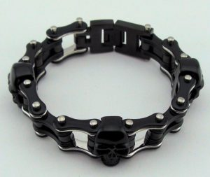 mens black skull motorcycle bracelet