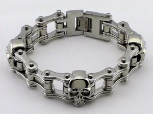 mens skull motorcycle chain bracelet
