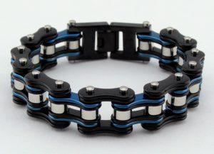 unisex blue/black biker bracelet jewelry