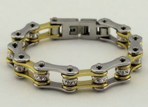 womans biker chain bracelet with crystals