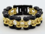 mens black and gold thick motorcycle bracelet jewelry