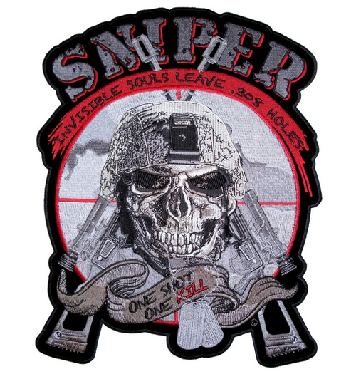 sniper skull patriotic patch