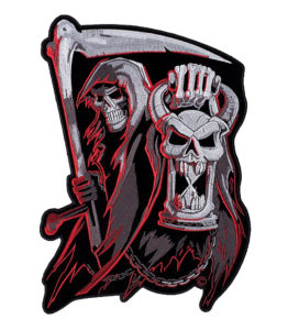 Grim Reaper countdown to death hourglass skull patch