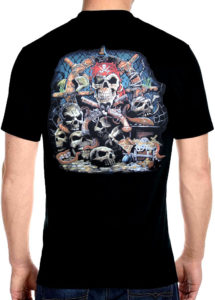 dead mans pirate skull chest tee