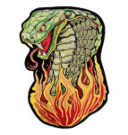 Hissing cobra snake with flames patch