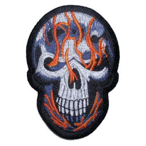 orange and blue flames skull patch